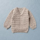 KNIT KIT, ALFRED, merino wool baby pullover, beige