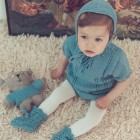 Merino wool Van Beren baby knit set EMILY, pullover and panties, turquoise