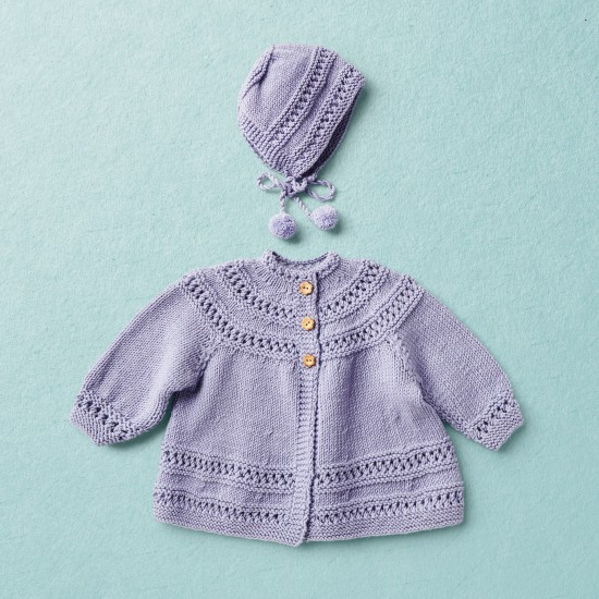 Merino wool Van Beren baby knit set CECILIA, purple