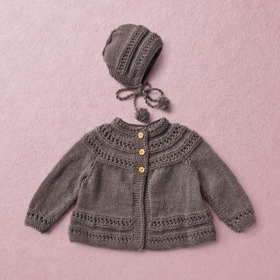Merino wool Van Beren baby knit set CECILIA, dark brown