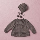 Merino wool Van Beren baby knit cardigan CECILIA, dark brown