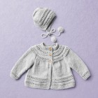 Merino wool Van Beren baby knit cardigan CECILIA, light grey