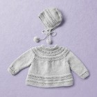 Merino Wool Van Beren baby knit set CECILIA, light grey