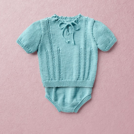 Merino Wool Van Beren baby knit set EMILY, turquoise,