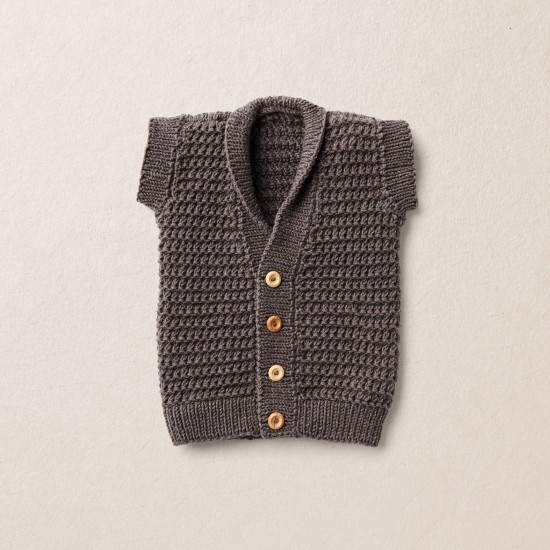 Baby knit vest, Van Beren merino wool baby knit vest, dark brown