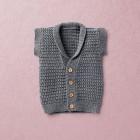 Van Beren merino wool baby knit vest, BRIAN, dark grey