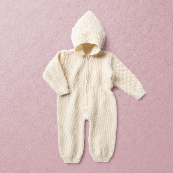 Merino Wool Van Beren baby knit hooded bodysuit TEDDY, off white