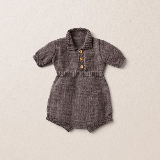 Van Beren merino wool baby knit romper BOBBY, dark brown