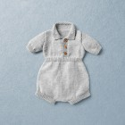 Van Beren merino wool baby knit romper BOBBY, light grey