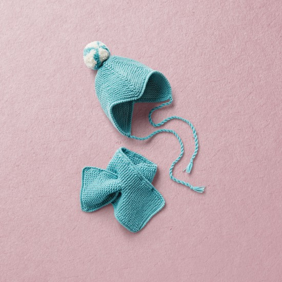 Merino wool Van Beren baby knit set RUBY, turquoise