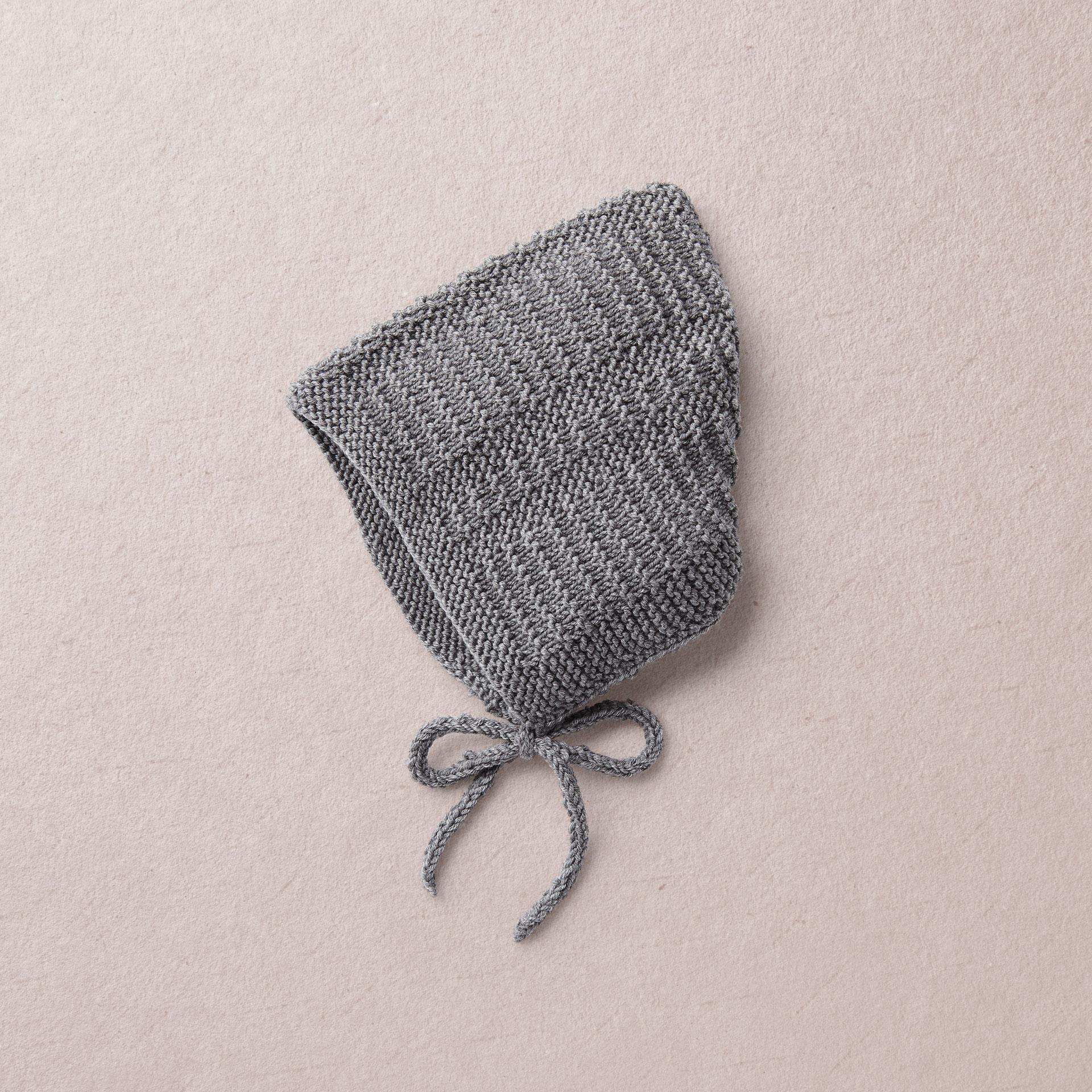 Merino Wool Van Beren baby knit bonnet DAVIE, dark gre
