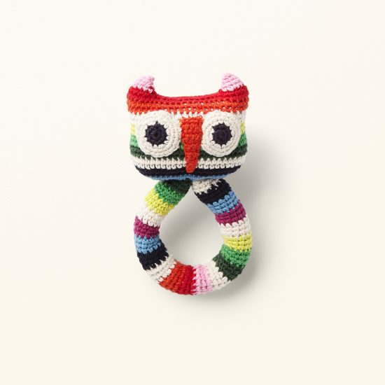 owl ring rattle from ANNE-CLAIRE PETIT handcrochet, organic cotton