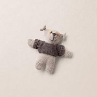 Van Beren Strickbär klein, Merinowolle, beige