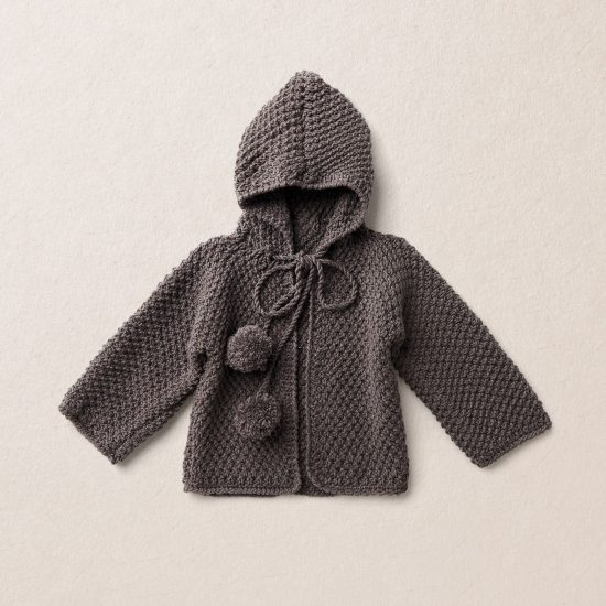 Merino Wool Van Beren baby knit cardigan RAMONA, dark brown