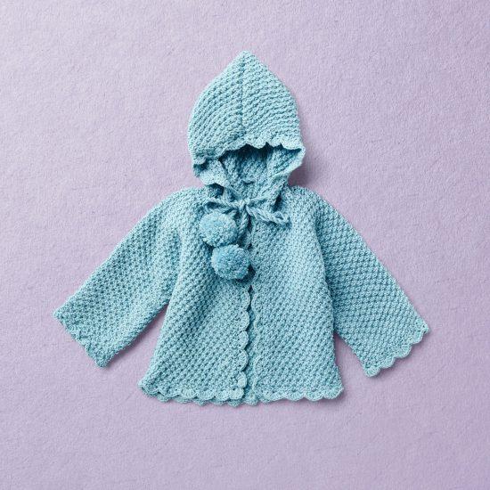 Merino Wool Van Beren baby knit cardigan RAMONA, turquoise