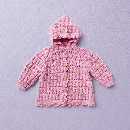 Merino Wool Van Beren baby knit cardigan PEGGY SUE, pink