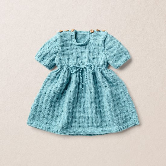 Merino wool Van Beren baby knit dress LIV, turquoise