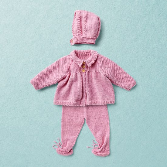 Merino Wool Van Beren baby knit set JUDY, pink