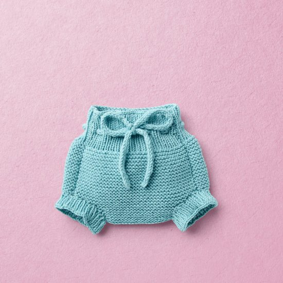 KNIT KIT, Merino wool Van Beren baby knit panties ISOBEL, turquoise
