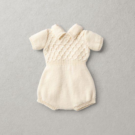 Merino wool Van Beren baby knit romper STEWART, off white
