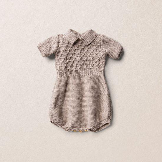 Merino wool Van Beren baby knit romper STEWART, beige
