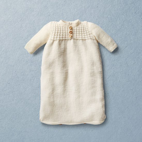 Merino wool Van Beren baby knit sleeping bag FERNANDO, off white