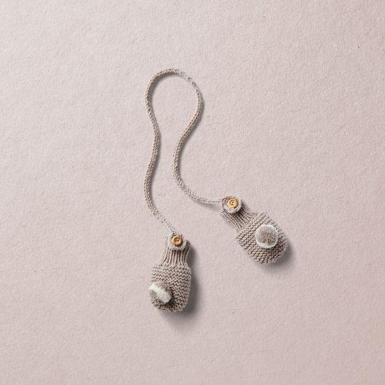 Merino wool Van Beren baby knit mittens LUCA, beige