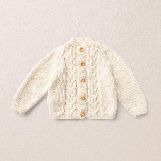 Merino wool Van Beren baby knit cardigan ROBIN, off white
