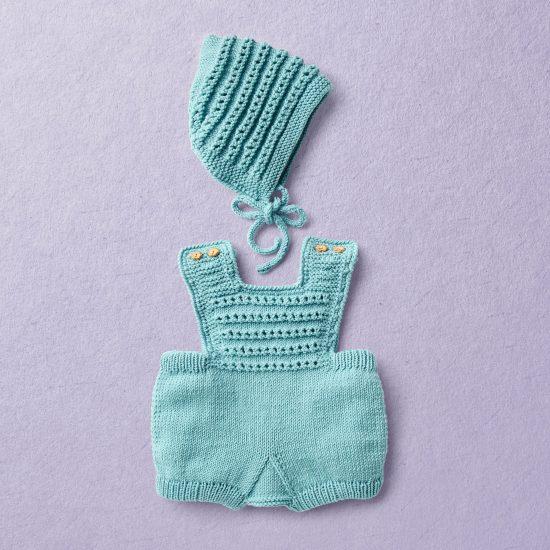 Merino wool Van Beren baby knit set GEORGIA, turquoise