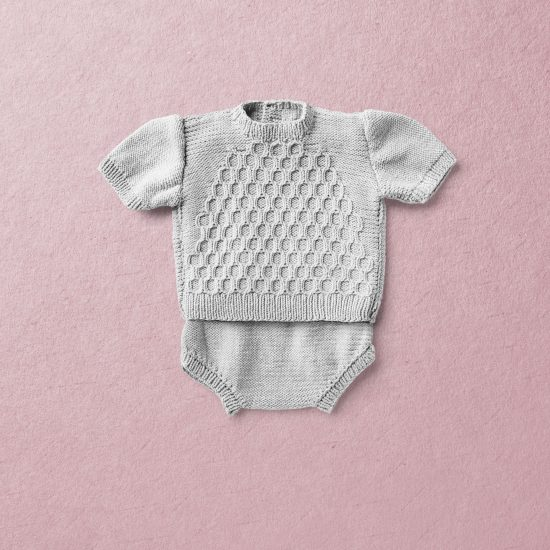 Merino wool Van Beren baby knit set STEVIE, light grey