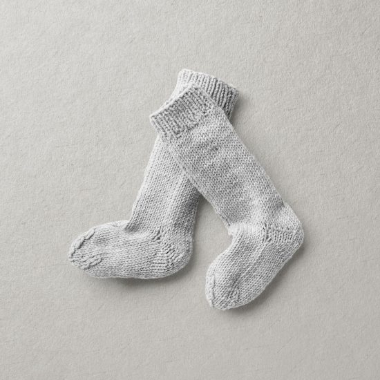 Baby knit socks, Merino wool Van Beren baby knee socks TYRON light grey