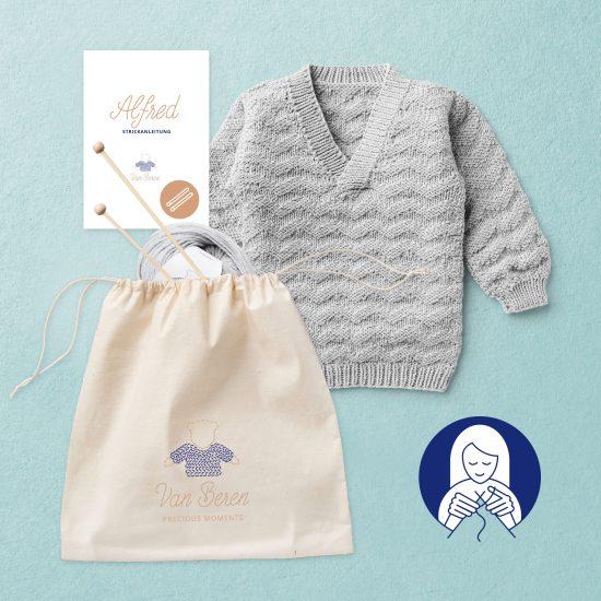Knit kit baby pullover ALFRED, merino wool, Van Beren, Woolschool