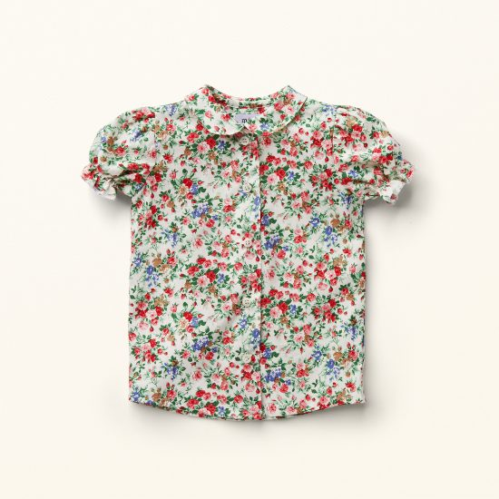 Nostalgic multi floral patterned girl blouse VERONICA, VAN BEREN, made in Austria, Miss Little