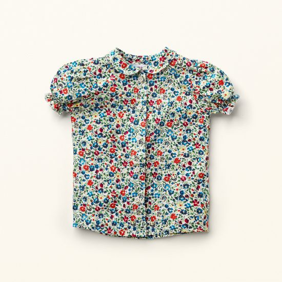 Nostalgic multi floral patterned girl blouse SUZANNE, VAN BEREN, made in Austria, Miss Little