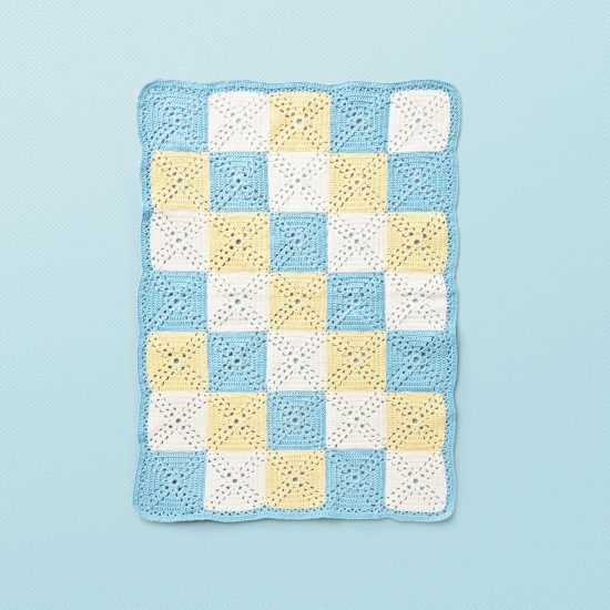 Vintage style inspired crochet blanket LOLITA, organic cotton, hand made in Austria, VAN BEREN