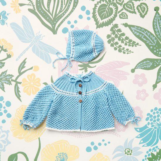 Vintage style inspired cardigan and bonnet ZOE, organic cotton, hand made in Austria, VAN BEREN
