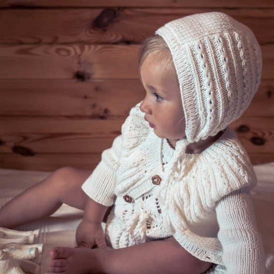 baby knit cardigan JANE, organic cotton, hand made in Austria, VAN BEREN