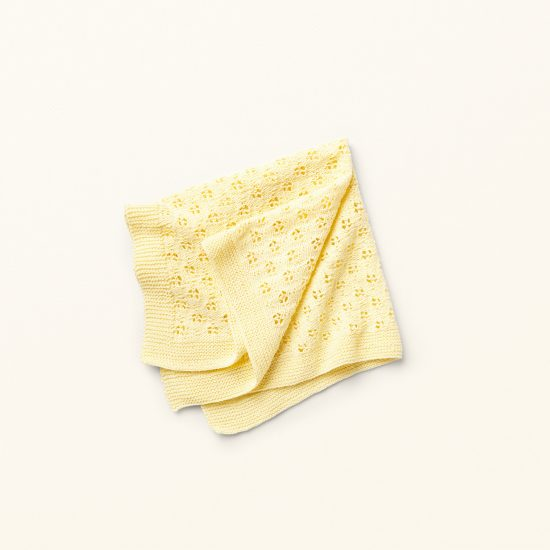 Vintage style inspired knit blanket in ajour pattern ANGEL, organic cotton, hand made in Austria, VAN BEREN