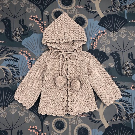 Vintage style inspired Van Beren baby knit cardigan RAMONA, high quality, eco conscious clothing, handmade in Austria, baby shower, baby belly party, hand knitted, fair fashion