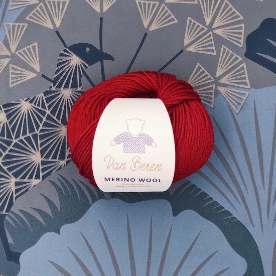 Van Beren Merino wool, EXP, deep red