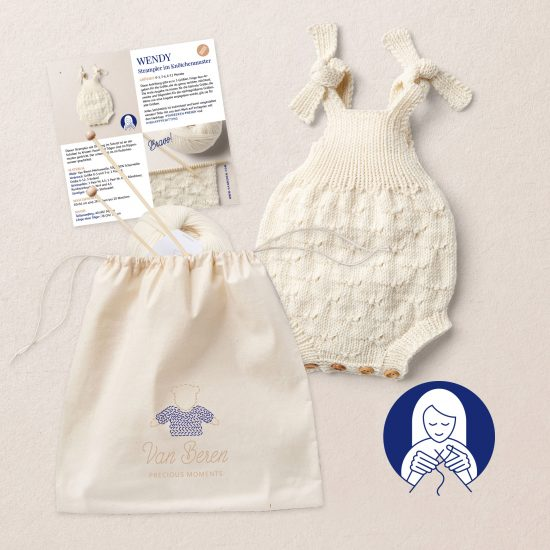 KNIT KIT WENDY baby romper Van Beren, knitting instruction, merino wool, Van Beren Wool School