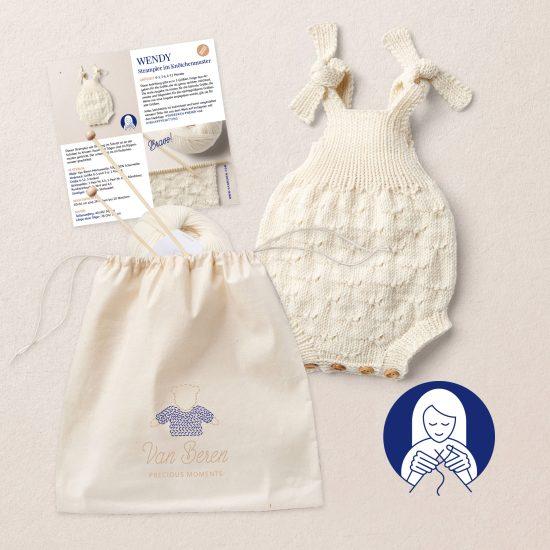 STRICKSET WENDY Babystrampler Merinowolle, Strickanleitung, Van Beren Wool School