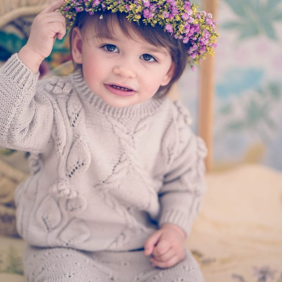 Flower girl, handmade in Austria, merino wool, eco consciouis clothes, baby present, baby shower, baby belly party, hand knitted, fairfashion, heirloom, VAN BEREN