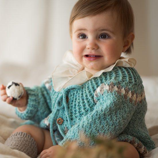 Crochet cardigan BELLE handknitted of virgin merino wool VAN BEREN