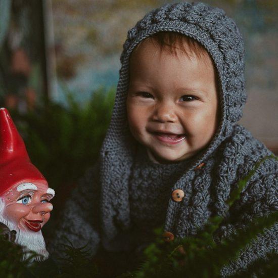 Crochet cardigan ABIGALE handknitted of virgin merino wool VAN BEREN
