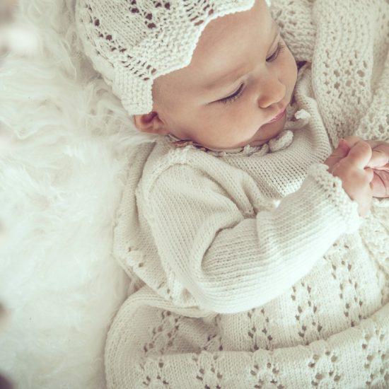 Christening dress STELLA handknitted of virgin merino wool in Austria, VAN BEREN