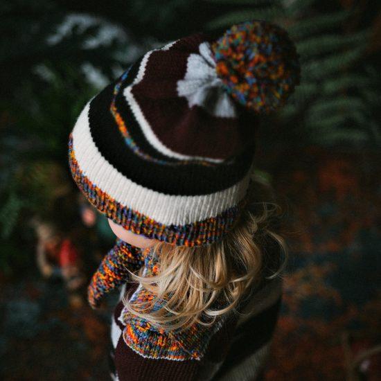 Knit bonnet JULIANA handknitted of virgin merino wool VAN BEREN