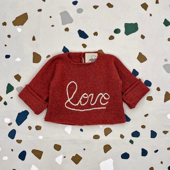 Baby sweater LOVE handknitted in Austria of virgin merino wool VAN BEREN