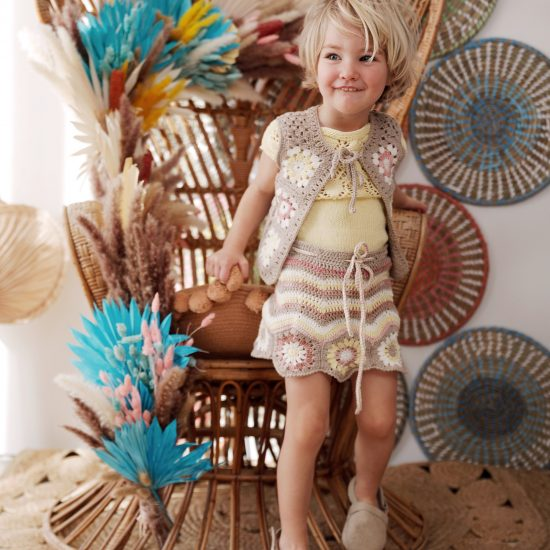 Crochet skirt granny square handmade in Austria of organic cotton yarn VAN BEREN