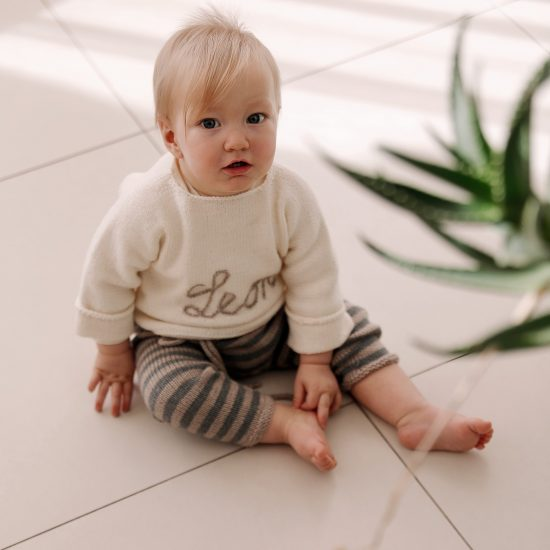 baby knit sweater EDWARD customized with first name handknitted in Austria of merino cool wool VAN BEREN